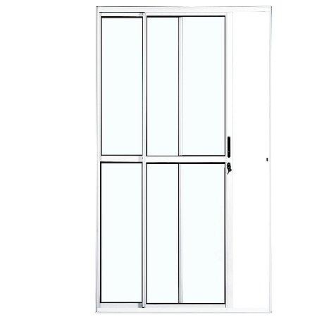 Porta de Correr em Alumínio Branco 2 Folhas Uma Fixa Vidro Liso Com Fechadura- Linha Max Lux Esquadrias