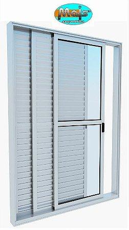Porta Balcão em Alumínio Branco 3 Folhas Uma Fixa Vidro Liso e Veneziana Com Fechadura - Linha 25 Mais Esquadrias