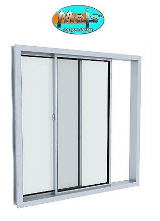 Janela de Correr em Alumínio Branco 2 Folhas Uma Fixa Vidro Liso Incolor - Linha Home Mais Esquadrias