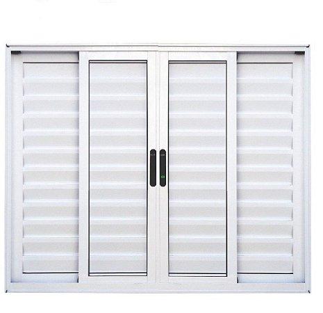 Janela Veneziana em Alumínio Branco 6 Folhas Vidro Liso Incolor - Linha Premium Lux Esquadrias