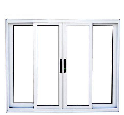 Janela de Correr em Alumínio Branco 4 Folhas Vidro Liso Incolor - Linha Premium Lux Esquadrias