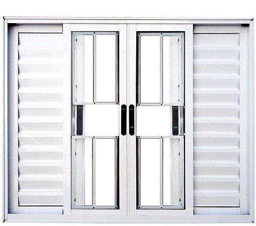 Janela Veneziana em Alumínio Branco 6 Folhas com Grade Vidro Liso Incolor - Linha Premium Lux Esquadrias