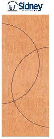 Porta de Abrir (Giro) Montada ES68 Padrão Imbuia Riscada Fechadura e Maçaneta Roseta Externa Batente de 14 cm - Sidney Esquadrias