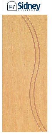 Porta de Abrir (Giro) Montada ES69 Padrão Imbuia Riscada Fechadura e Maçaneta Roseta Externa Batente de 12 cm - Sidney Esquadrias
