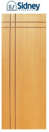 Porta de Abrir (Giro) Montada ES75 Padrão Imbuia Riscada Fechadura e Maçaneta Roseta Externa Batente de 14 cm - Sidney Esquadrias