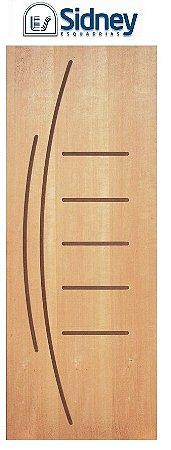Porta de Abrir (Giro) Montada ES100 Padrão Imbuia Riscada Fechadura e Maçaneta Roseta Externa Batente de 14 cm - Sidney Esquadrias