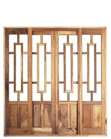 Porta de Correr em Madeira Imbuia 4 Folhas Reta Tróia sem Vidro com Ferragem Batente 14 cm - Sidney Esquadrias