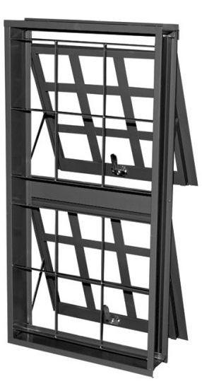 Janela Maxim-Ar em Aço duas Seções Vertical Quadriculado com Grade Quadriculada sem Vidro Requadro 12 cm - Linha Prata Gerotto