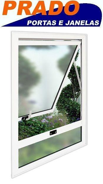Janela Maxim-ar em Alumínio Branco uma Seção com Bandeira Inferior Fixa e Vidro Mini Boreal - Linha 25 Prado