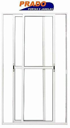 Porta de Correr em Alumínio Branco 2 Folhas Móveis Vidro Liso Com Trinco - Linha 25 Prado