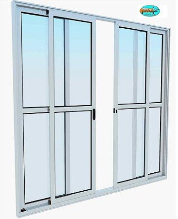Porta de Correr em Alumínio Branco 4 Folhas Vidro Liso Com Fechadura - Linha 25 Mais Esquadrias