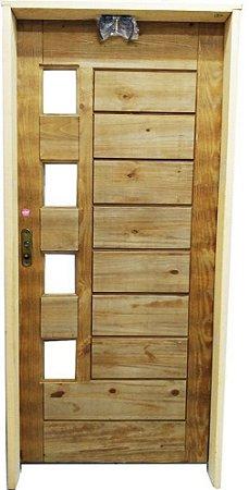 Porta Big Brother Para 4 Vidros Ecológica Sem Vidro c/ Batente de 14 cm Misto c/ Fechadura Taco de Golf - Rick Esquadrias