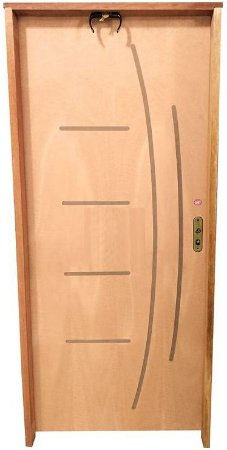 Porta Frisada Stander Dover c/ Batente de 14 cm Misto c/ Fechadura Taco de Golf - Rick Esquadrias