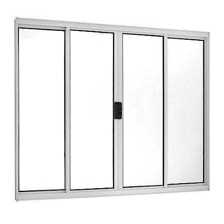 Janela Correr 4 Folhas S/ Grade Alumínio Branco Req. 5 cm - Linha Ecosul - Esquadrisul