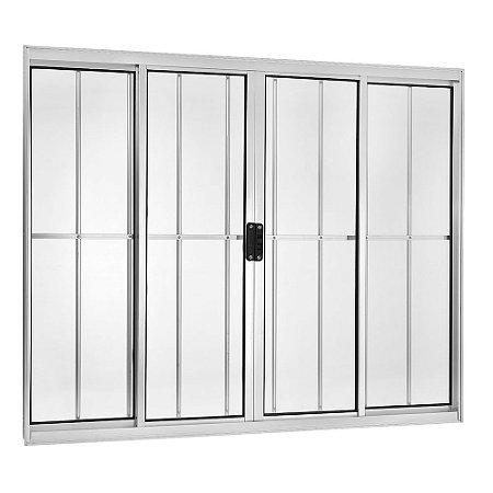 Janela de Correr em Alumínio Branco 4 Folhas com Grade Vidro Liso Incolor - Linha Moderna - Esquadrisul