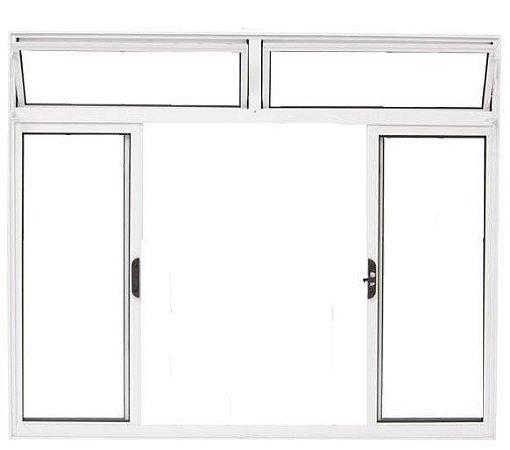 Janela de Correr em Alumínio Branco 4 Folhas com Bandeira Vidro Liso Incolor - Linha Moderna - Esquadrisul
