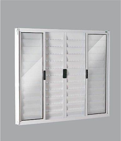 Janela Veneziana em Alumínio Branco 6 Folhas Vidro Liso Incolor - Linha Moderna Esquadrisul