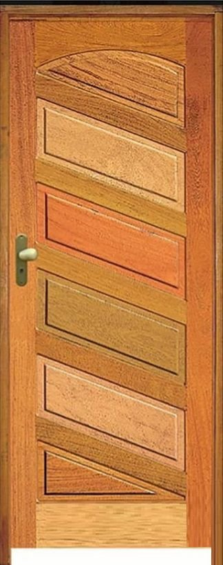 Porta Mexicana Diagonal R-20 Mista Maciça c/ Batente de 14 cm Misto c/ Fechadura Tambor - Rick Esquadrias