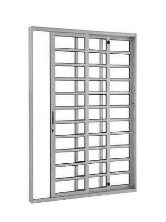 Porta de Correr em Alumínio Brilhante 3 Folhas de Vidro com Travessa e Fechadura - Linha Top Esquadrisul