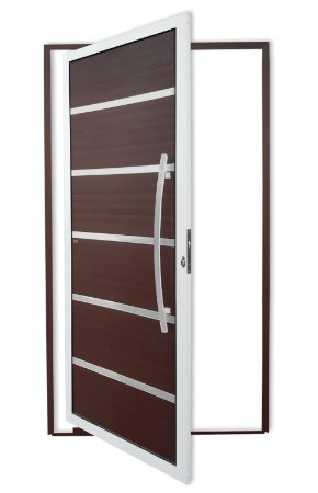 Porta Pivotante Lambril Premium C/ Puxador Dubai Polido C/ Fechadura Rolete  em Alumínio Mix Corten S/ Vidro - Brimak Super 25