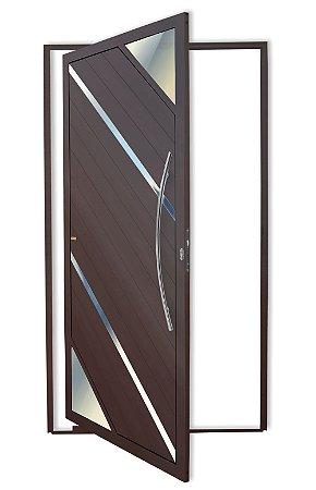 Porta Pivotante Lambril Oasis C/ Puxador Athenas Polido C/ Fechadura Rolete em Alumínio Corten - Brimak Super 25