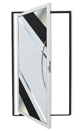 Porta Pivotante Lambril Oasis C/ Puxador Athenas Polido C/ Fechadura Rolete em Alumínio Mix Preto - Brimak Super 25