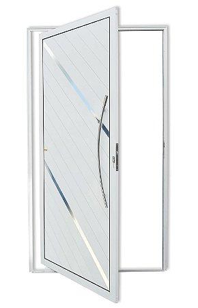Porta Pivotante Lambril Duna C/ Puxador Athenas Polido C/ Fechadura Rolete em Alumínio Branco S/ Vidro - Brimak Super 25