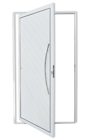 Porta Pivotante Lambril Savana C/ Puxador Athenas Polido C/ Fechadura Rolete em Alumínio Branco S/ Vidro - Brimak Super 25