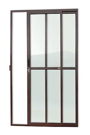 Porta de Correr 2 Folhas (1 Fixa) c/ Fechadura em Alumínio Corten c/ Vidro Liso - Brimak Super 25