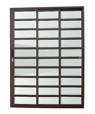 Porta de Correr 3 Folhas (1 Fixa) Travessa c/ Fechadura em Alumínio Corten c/ Vidro Liso - Brimak Super 25