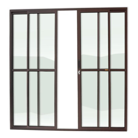Porta de Correr 4 Folhas c/ Fechadura em Alumínio Corten c/ Vidro Liso - Brimak Super 25