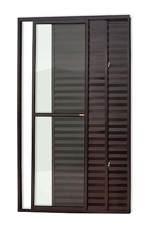 Porta Balcão 3 Folhas (1 Fixa) c/ Trinco em Alumínio Corten c/ Vidro Liso - Brimak Super 25