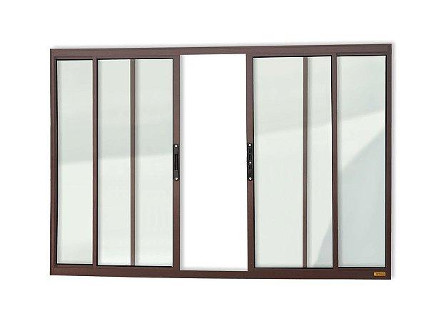Janela de Correr 4 Folhas s/ Grade em Alumínio Corten c/ Vidro Liso - Brimak Confort