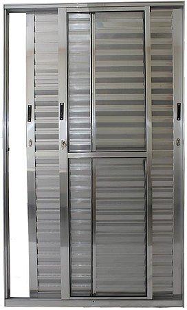 Porta Balcão 3 folhas Móveis C/Fechadura Alumínio Brilhante VDR. Liso - Linha 25 Esax -