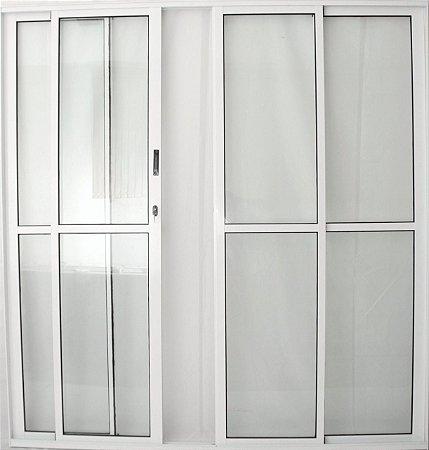 Porta de Correr 4 folhas C/Fechadura Alumínio Branco VDR. Liso - Linha 25 Esax -