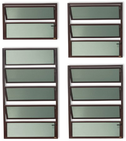 Basculante 1 Seção em Alumínio Corten c/ Vidro Mini Boreal - Brimak Plus