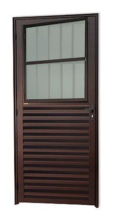 Porta de Sala Social c/ Grade em Alumínio Corten c/ Vidro Mini Boreal - Brimak Super 25