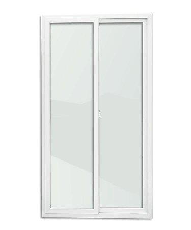 Porta de Correr 2 Folhas Móveis em PVC c/ Cremona c/ Vidro Temperado - Brimak Itec