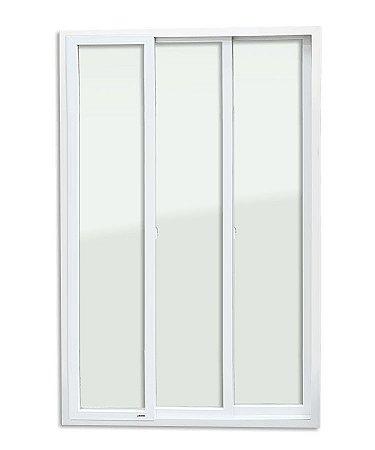 Porta de Correr 3 Folhas Móveis em PVC s/ Cremona c/ Vidro Temperado - Brimak Itec