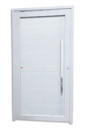 Porta Pivotante Lambril em PVC c/ Puxador Milão Polido 100 cm c/ Fechadura Rolete - Brimak TecPlus 100