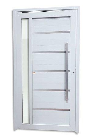 Porta Pivotante Miraggio em PVC c/ Puxador Milão Escovado 100 cm c/ Fechadura Rolete c/ Vidro Temperado - Brimak TecPlus 100
