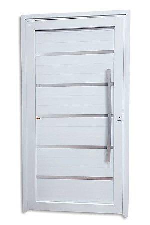 Porta Pivotante Premium em PVC c/ Puxador Dubai Escovado 100 cm c/ Fechadura Rolete - Brimak TecPlus 100