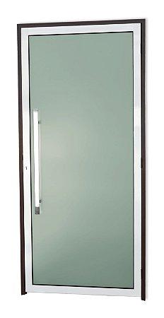 Porta Murano C/ Puxador Milão Polido C/ Fechadura Rolete em Alumínio Mix Corten C/ Vidro Temperado de 5 Mm C/ Película - Brimak Super 25