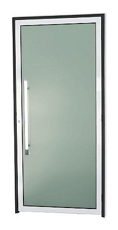 Porta Murano c/ Puxador Milão Polido Fechadura Rolete em Alumínio Mix Preto c/ Vidro Temperado de 5 milímetros c/ Película - Brimak Super 25
