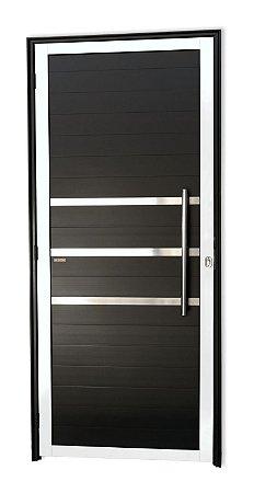 Porta Lambril c/ Friso c/ Puxador Londres Polido c/ Fechadura Rolete em Alumínio Mix Preto s/ Vidro - Brimak Super 25