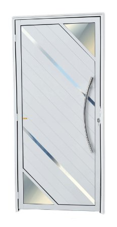 Porta Lambril Oasis c/ Puxador Athenas Polido c/ Fechadura Rolete em Alumínio Branco - Brimak Super 25