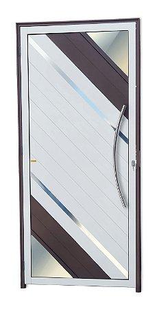 Porta Lambril Oasis c/ Puxador Athenas Polido c/ Fechadura Rolete em Alumínio Mix Corten - Brimak Super 25