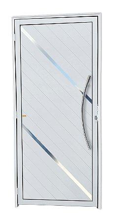 Porta Lambril Duna c/ Puxador Athenas Polido c/ Fechadura Rolete em Alumínio Branco - Brimak Super 25