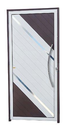 Porta Lambril Duna c/ Puxador Athenas Polido c/ Fechadura Rolete em Alumínio Mix Corten - Brimak Super 25