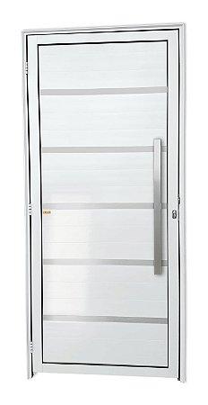 Porta Lambril Premium c/ Puxador Milão Escovado c/ Fechadura Rolete em Alumínio Branco - Brimak Super 25